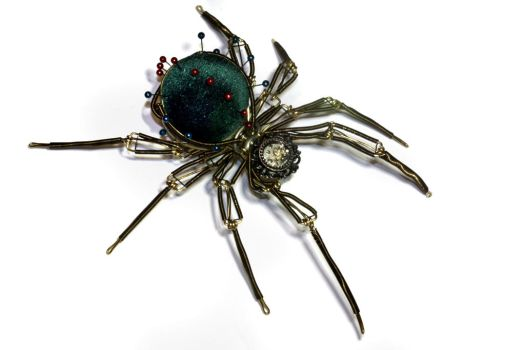 Steampunk Pin Cushion Spider - Christmas Nightmare by CatherinetteRings