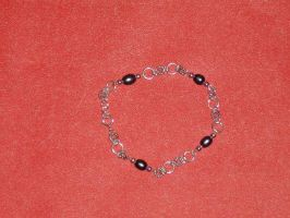 Sterling Silver/Black Pearl Chain Bracelet by Batalha-Enterprises