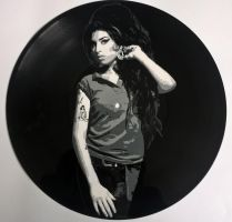 Amy Winehouse painted on vinyl record by vantidus