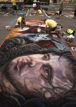Game of Thrones Chalk Art WIP by charfade