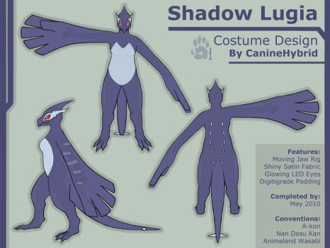 Shadow Lugia Costume Design by CanineHybrid
