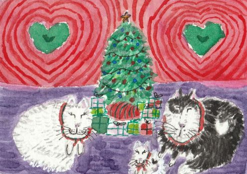 Happy cat  family Christmas watercolor aceo by tulipteardrops