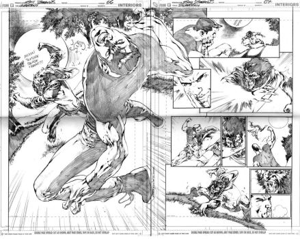 SUPERBOY, DOUBLE PAGE 6 AND 7 by eddybarrows