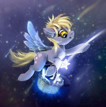 Derpy pony Collecting Stars by xbi