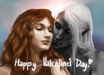Catti-brie And Drizzt - Valentine's Day by svanha