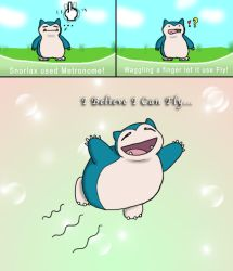 Snorlax Flies by dawny