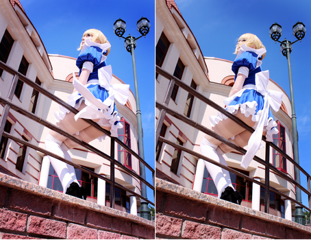 Fate Stay Night - Saber Maid fanservice cosplay by palecardinal