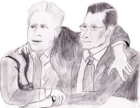 Jon Stewart And Stephen Colbert by SylvesterMcCoyFan