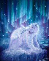 Polar bear mother and baby by CORinAZONe