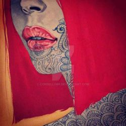 face henna in red by CordellOrr
