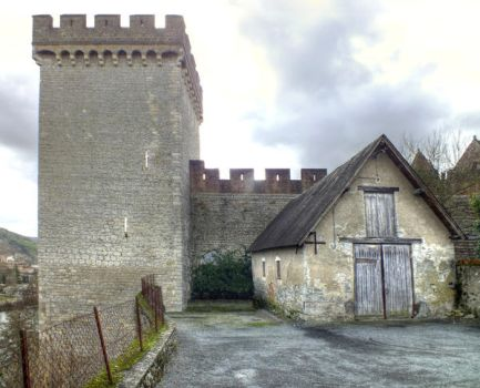 Medieval surrounding wall and tower - Cahors 32 by HermitCrabStock