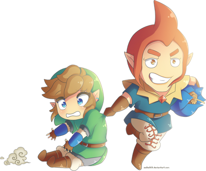 Skyward Sword: Chibi Link and Groose by Zelbunnii