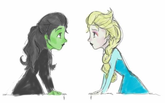 Elsa and Elphaba by Ellphie