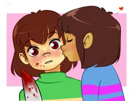 Frisk and Chara - Smooch by Fabi-PR