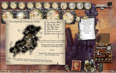 Steampunk Hole Desktop Tidy Tool showing Help by yereverluvinuncleber