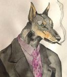 Dobermann in a suit by Mespehria