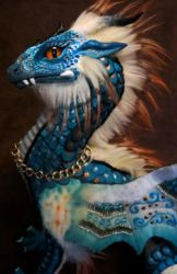 wip - teal dragon soft sculpture by kimrhodes