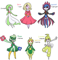 Gardevoir breed variations by 1000butts