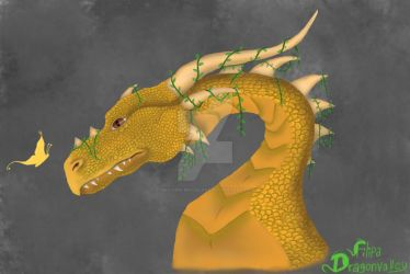 Dragon whit a butterfly by Unicorn-Woodland