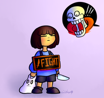 Frisk Wearing A Very Scary Costume by Wonder-Waffle