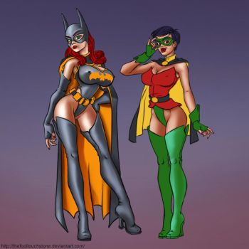 BatBabe and Swallow Pinup, MoreWIP by thefooltouchstone