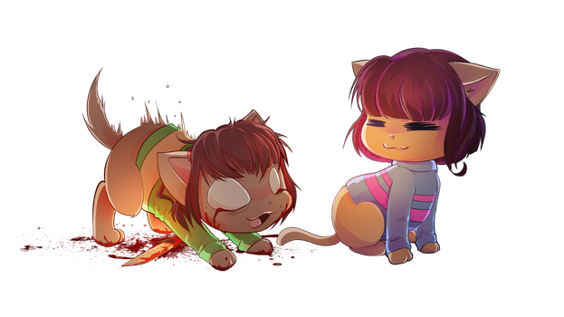 Chara and Frisk Cat version by CKibe