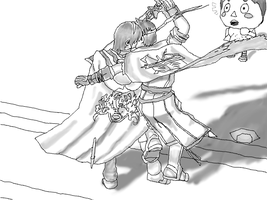 Marth X Ike greyscale by supersysscvi