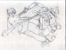Roy fighting a robot thing by Jehudy