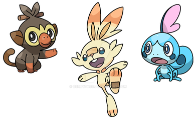 Galar Starters Shiny Forms by berrypass