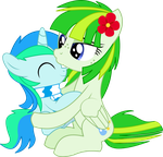 Cyan Lightning and Green Lightning - Mother's Kiss by CyanLightning