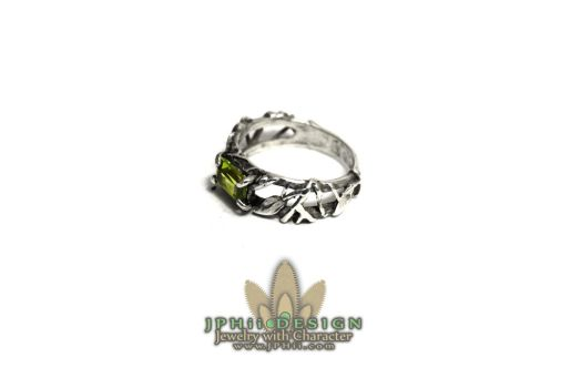 Peridot Vine Engagement Ring by jphiijewelry