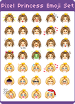 Pixel Princess Emoji Set by mouldyCat