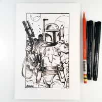 Inktober Day 7 - Boba Fett by D-MAC