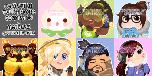 Commission: Overwatch Twitch Emotes by CubedCake