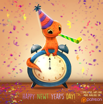 Daily Paint 1502. Happy Newt Year's Day :) by Cryptid-Creations