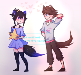 Fox Girl and Wolf Boy by MikoMei