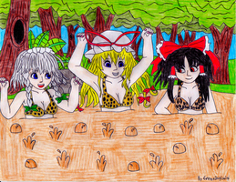 Touhou Girls in Bubbling Quicksand (Request) by GreenDayLuigi