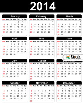 2014 Free Vector Calendar by Stockgraphicdesigns