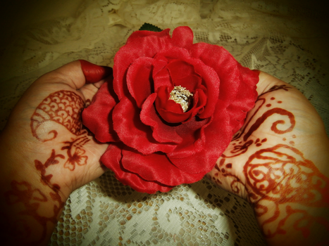 mehndi, alta and silk flowers by MacAronySalsa