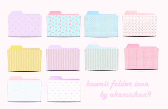 Cute Folder Icon Set By Akamichan9 by akamichan9