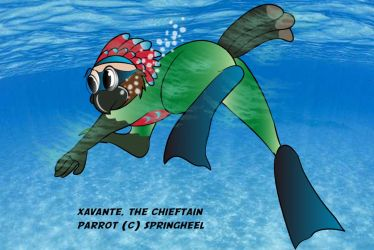 Xavante, the hawkbill parrot underwater by springheel