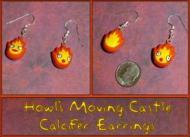 Howls Moving Castle - Calcifer Charm Earrings by YellerCrakka