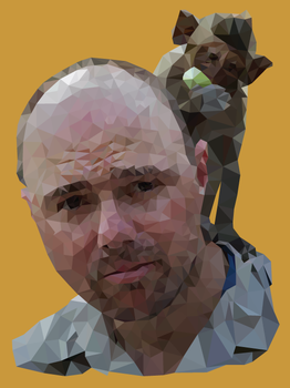 Polygon Karl Pilkington w/ Monkey by fretless94