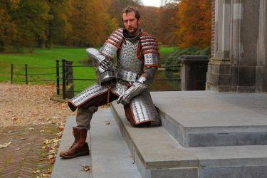 Steel hexagon plate lamellar armour (finished) 2 by Armourdillo