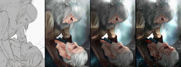 Geralt and Ciri colored sketch by Everybery