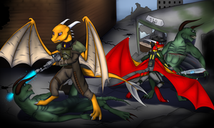 deathclaw battle by generaldragon