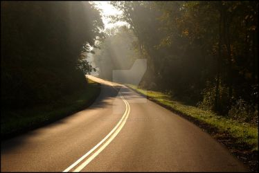 Dawn's Rays on the Road by KWilliamsPhoto