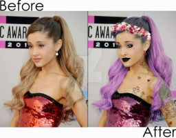Ariana Grande Pastel Goth Before and After by KittyBuu22