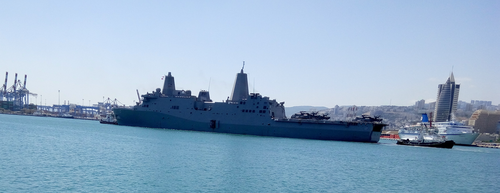 USS San Antonio (LPD-17), in Haifa port. by Shed-Ashmedai