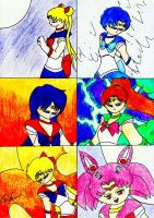 Five Inner Senshi and Chibimoon Power by lordtrigonstar